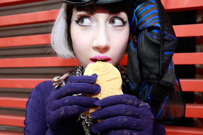 misha janette eats taiyaki in her Vogue Japan photshoot
