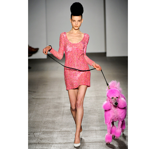 isaac mizrahi with pink poodle 2011 fw