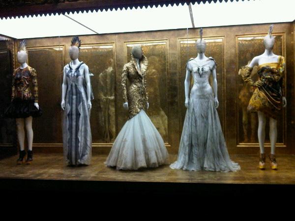 three dresses on display