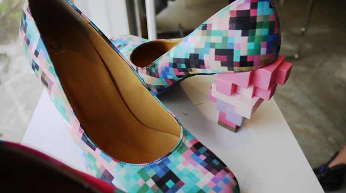 low resolution pixel heel shoes