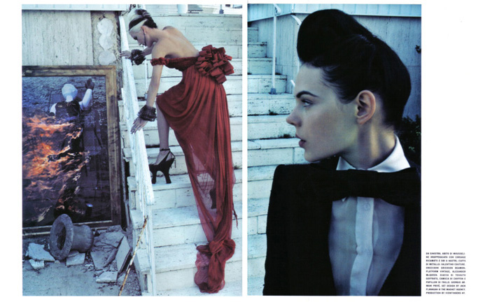 dpahne guiness appears in vogue italia couture supplement