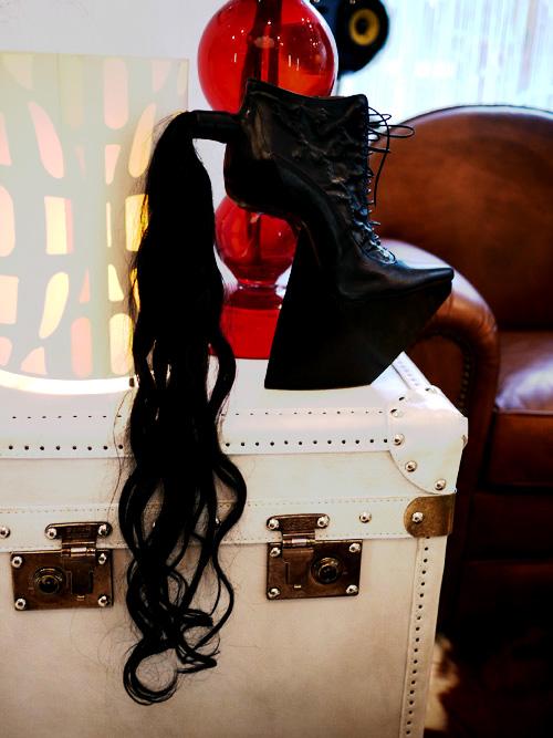 black pony tail shoes