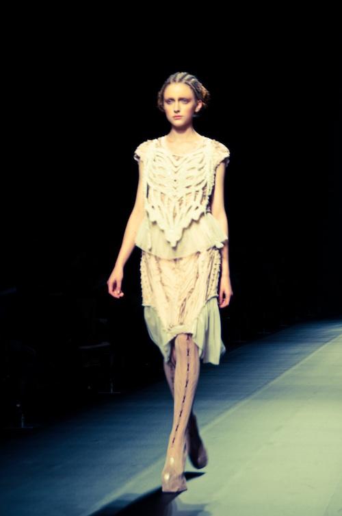 white exoskeleton dress