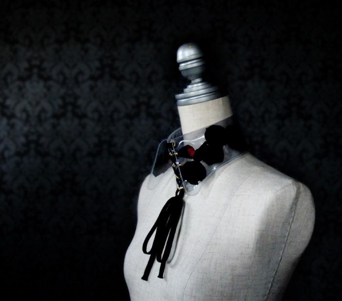 yuki-inoue-vinyl-collar-lace-Up-Black-Rose