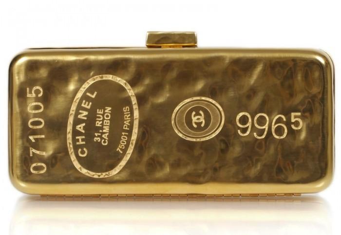 Chanel gold bar clutch