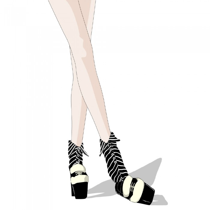illustration of black striped short Shirt collar socks Erimaki Sox
