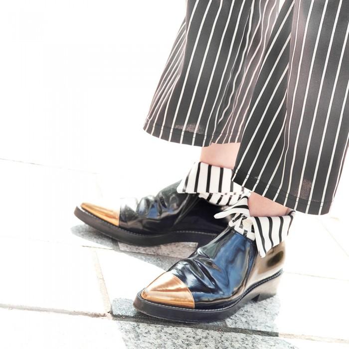 menswear version of white striped short Shirt collar socks Erimaki Sox