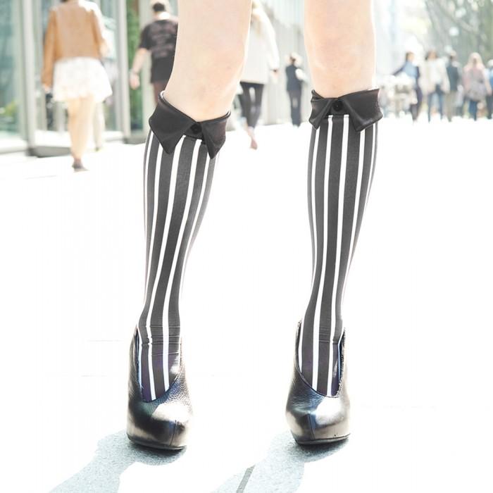 black kneehigh striped short Shirt collar socks Erimaki Sox