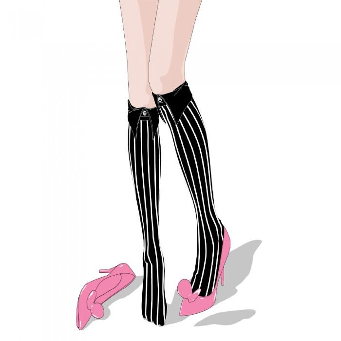 illustration of black kneehigh striped short Shirt collar socks Erimaki Sox