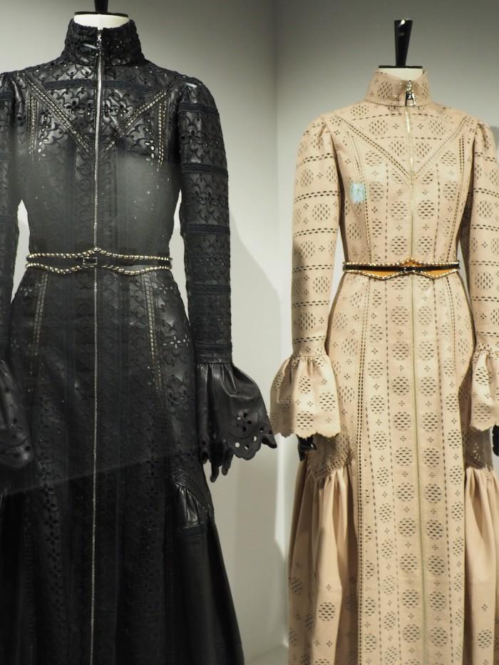 modern dresses at the louis vuitton volez voguez voyagez Tokyo exhibit