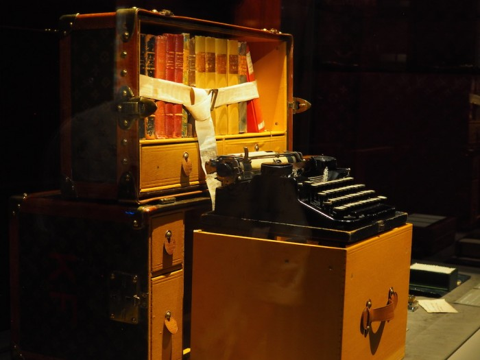 typewriter trunk at the louis vuitton volez voguez voyagez Tokyo exhibit