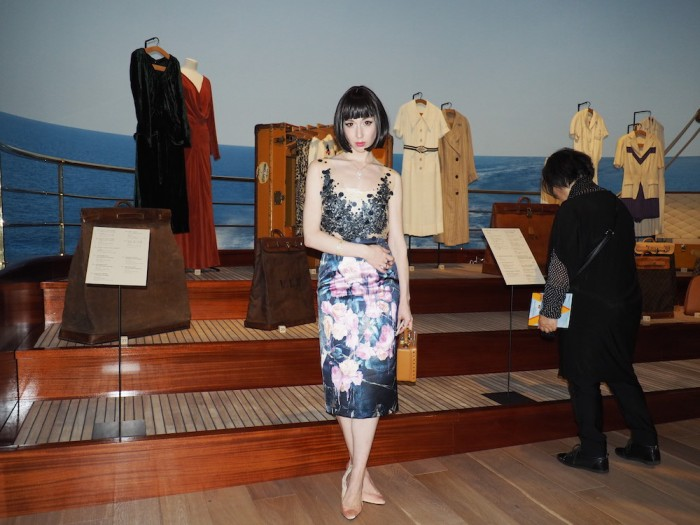 misha janette at the louis vuitton volez voguez voyagez Tokyo exhibit
