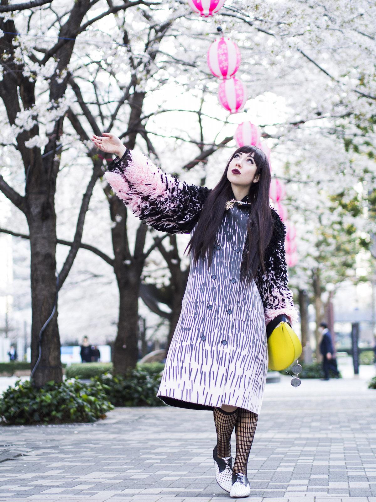 coat by viktoriya veselova that looks like a blanket of cherry blossoms