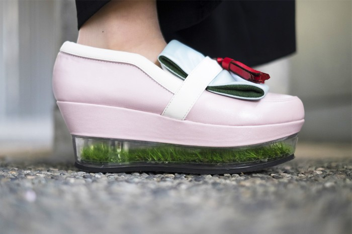 surreal fashion grass in shoes by pameo pose