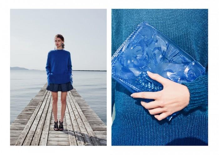 mame 2015 blue vinyl plastic clutch bag