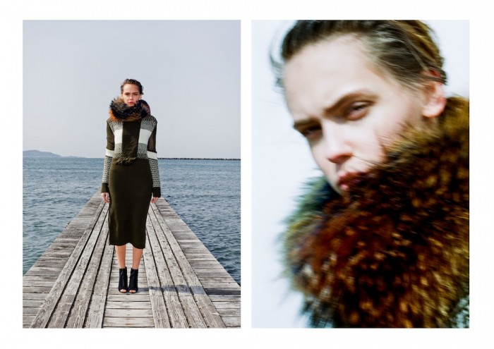 model wears fur mame 2015 aw winter tokyo in lookbook