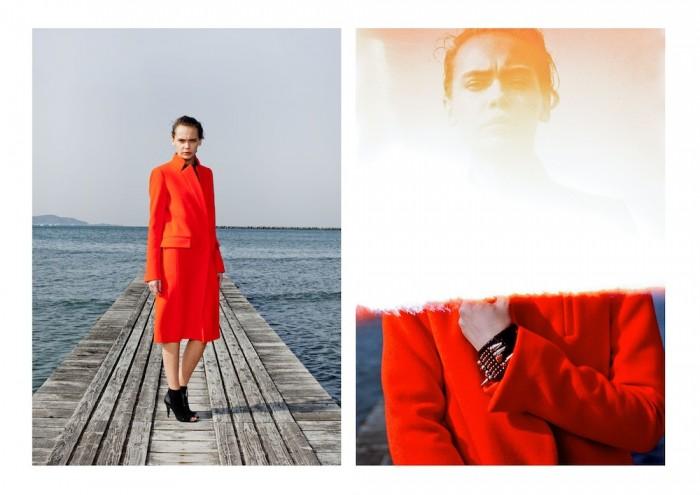model wears orange mame 2015 aw winter tokyo in lookbook