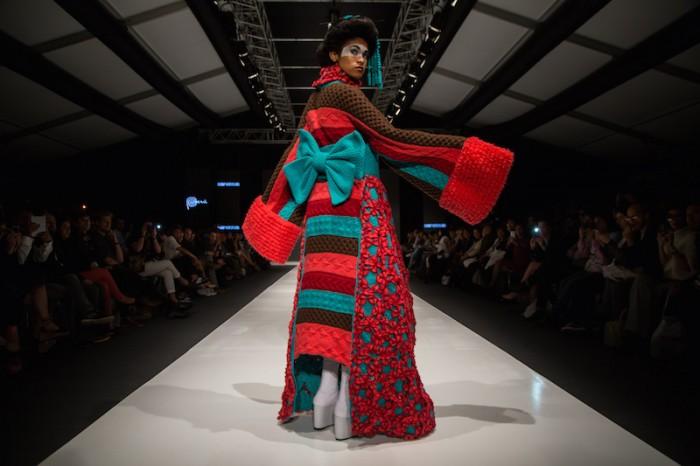 rainbow kimono in Jorge Salinas fashion show