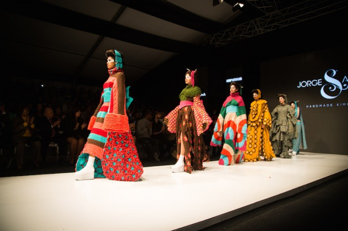 Jorge Salinas fashion show of kimono finale walk of models