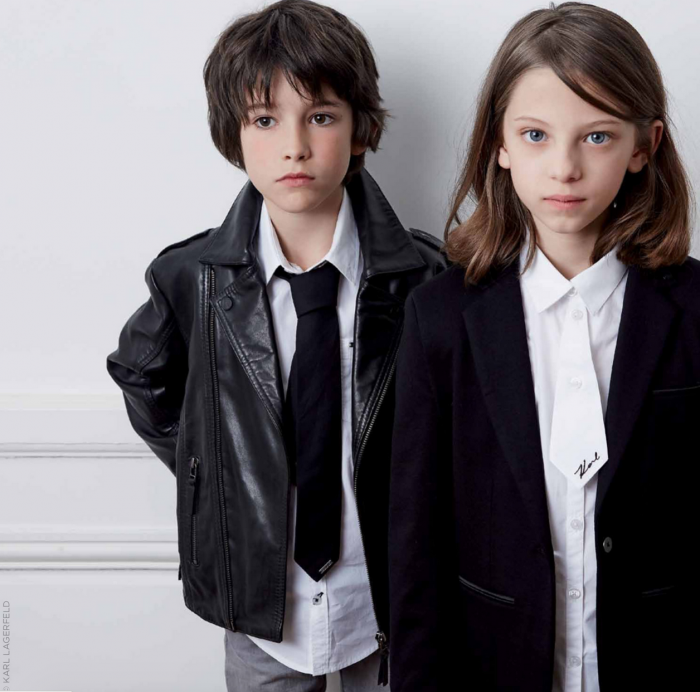 Children models pose for Karl Lagerfeld kids for Melijoe