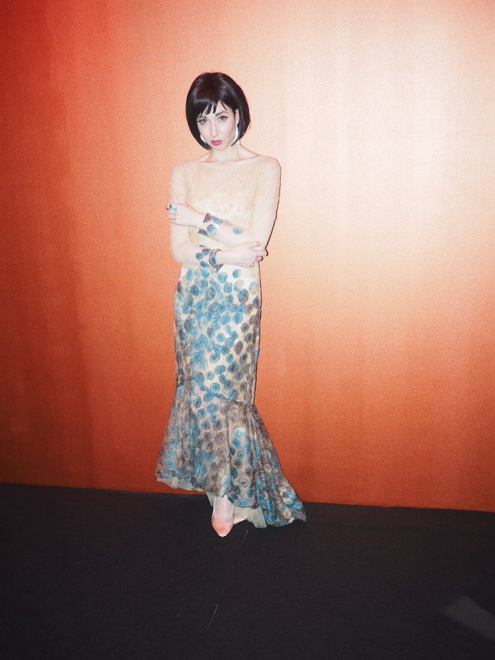 Misha janette wears Mayuko Daimon dress
