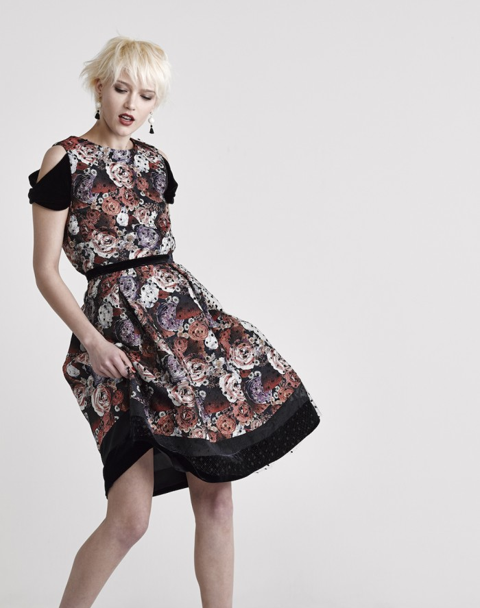 model wears japanese fashion brand GNU jacquard dress