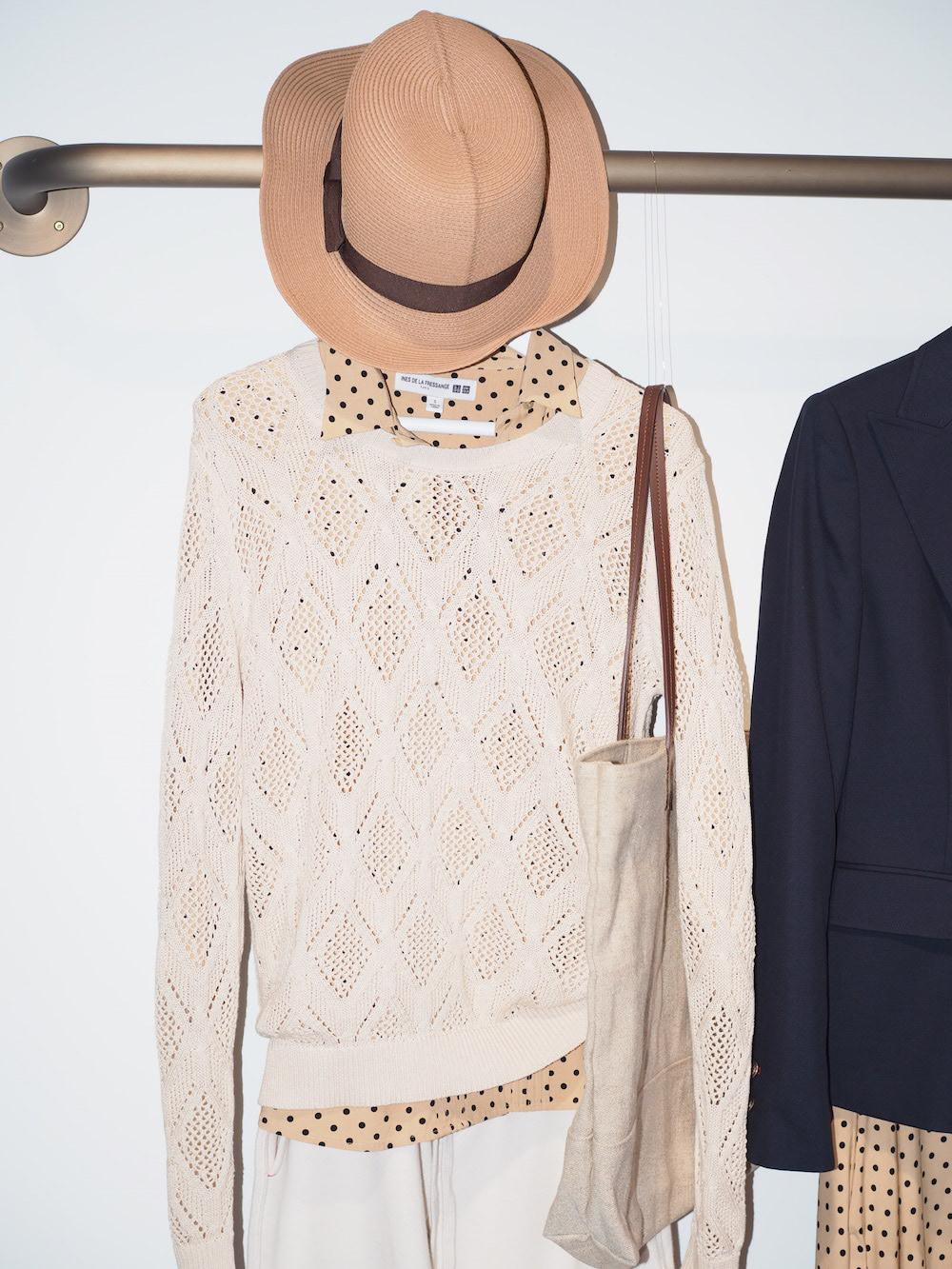 Ines de la Fressange designs on display at Uniqlo Lifewear 2017 SS exhibit in Tokyo
